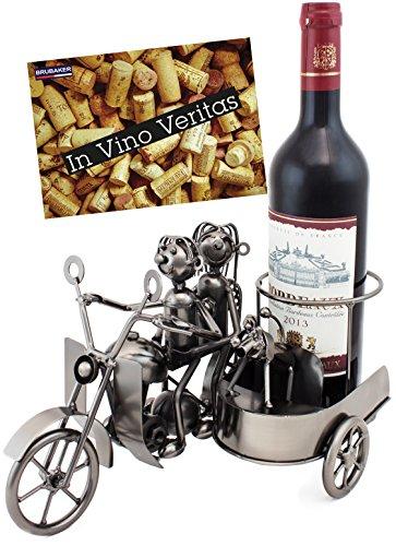 Brubaker Soporte para botellas de vino, diseño de moto con carro y perro, escultura de metal con tarjeta de regalo