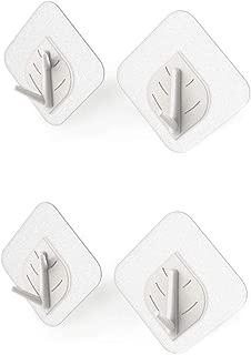 Wall Hooks, Hat Hooks, Storage Wall Mounted Coat Hanging Leaf Shape Hook for Coat, Wardrobe Closet Towel Key Robe Hook (White)