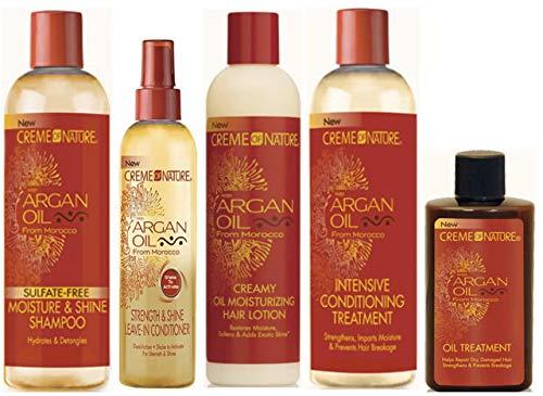 Creme of Nature Argan Oil Shampooing sans sulfate 354 ml, revitalisant sans rinçage 250 ml, lotion hydratante à l'huile crémeuse 250 ml, traitement revitalisant 354 ml et traitement à l'huile 88,7 ml