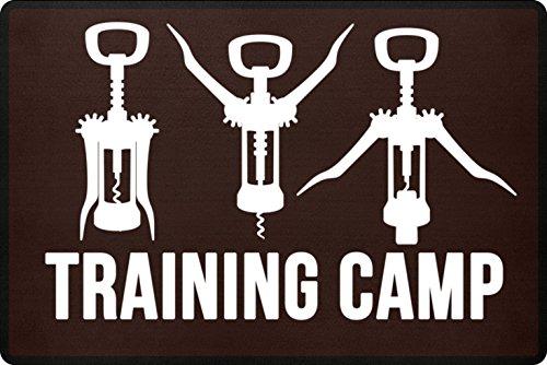 PlimPlom Training Camp Zerbino per la porta di casa o per esterni – Divertente cavatappi vino Zerbino con scritta in polipropilene con fondo antiscivolo (marrone)