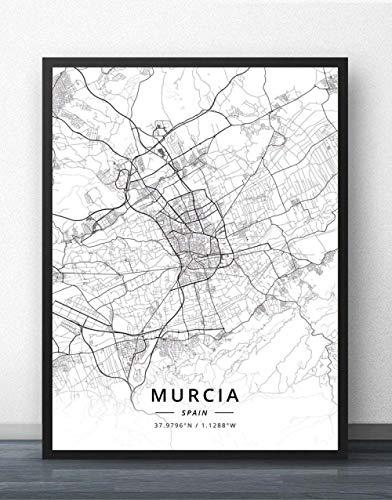 Cuadro Sobre Lienzo,España Murcia Ciudad Mapa Pared Imágenes Carteles Blanco Negro Impresiones Arte Pinturas De Arte Murales Pop Obras De Arte Para La Habitación De La Vida Casa Decoración,70X100