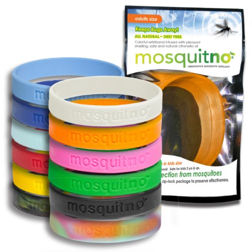 Mosquitno 100-Pack Natural Mosquito Repellent Wristbands, Adult, Assorted