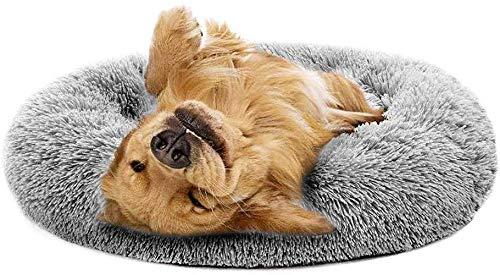 YLCJ Kattenbed Hond bed Rond nest van huisdieren Pluche donut Bed voor huisdieren Slaapzak Anti-slip bodem Machine wasbaar Waterdicht Vier seizoenen beschikbaar (Kleur: grijs, Maat: 31.50 '), 23.62'', Grijs