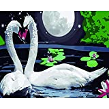 Joilkmgg Pintar por Numeros Luna de Ganso Blanco para Adultos Niños Pintura por Números con Pinceles y Pinturas Pintar por Numeros Decoraciones para el Hogar 40 X 50 cm sin Marco