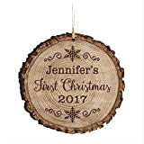 Ornamento personalizzato per il primo Natale del bambino, idea regalo per neonati e bambine. Ornamento personalizzato inciso per mamma papà e nonni 3,75' (primo Natale 2017)