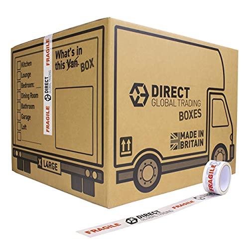 10 Strong Extra Large Cardboard Storage Packing Moving House Boxes Double Walled with Carry Handles and Room List 66 Metres Fragile Tape 52cm x 52cm x 40cm