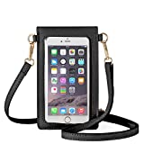 AnsTOP Lightweight Leather Mini Pouch Small Crossbody Bag Cell Phone Purse Wallet Shoulder Bags for Women, Fit with iPhone 11, X, 8 Plus (Black)