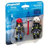 PLAYMOBIL- Duo Pack Duopack Bomberos, Color carbón (70081)