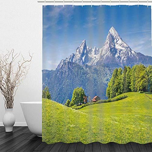 BLZQA Schnee Berggrünland Duschvorhang, Grün Antischimmel Duschvorhänge Textil Wasserdicht Shower Curtains Badewanne Waschbar mit 12 Haken, 180 x 180 cm