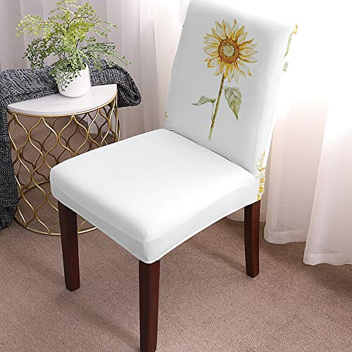 Removable Chair Covers Anti-Dust Seat Slipcover, Polyester Dining Room Chair seat Covers Watercolor Sunflower Yellow Green for Home Party Hotel Wedding Ceremony 6 Pack