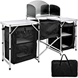 101010 Camping Kitchen Table with Windscreen and 3 Storage Organizer, Portable Aluminum Cook Station Lightweight Easy to Set-up, Outdoor Folding Table for Camping, BBQ and Party
