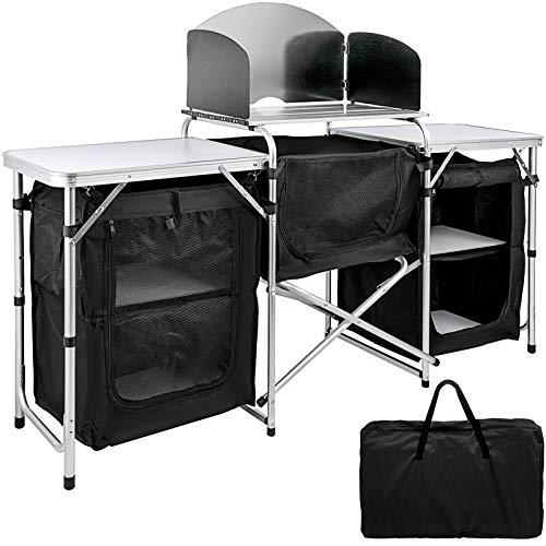 VEVOR Mueble Cocina Al Aire Libre Camping Plegable Mesa Armario de Cocina con 3 Bolsas con Cremallera Esta Mesa de Cocina Portátil Es Desmontable y Plegable Conveniente para Llevar Negro