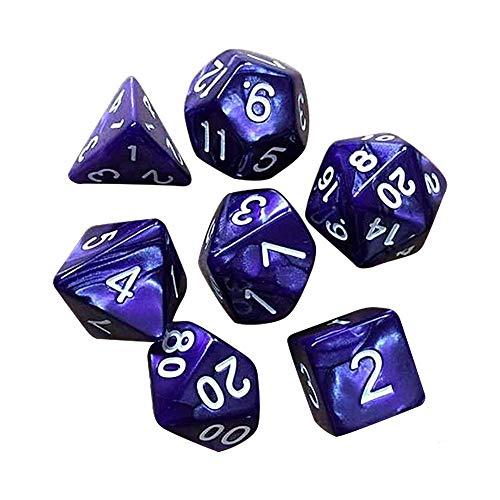 Juego de dados poliédricos para mazmorras y dragones para fiestas y familias (7pcs-púrpura)