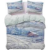 UNOSEKS LANZON - Juego de funda de edredón para cama de montaña de nieve y bosque helado, diseño rústico, color blanco caramelo, tamaño Queen