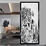 W 35.4' x L 78.7' Privacy Window Film Opaque Non Static Cling Window Sticker,Hunting,Hunting Dogs in The Forest Monochrome Drawing English Pointer and Setter Breeds,Black White