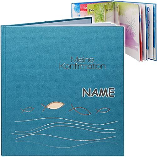 Konfirmationsalbum / Eintragalbum & Erinnerungsalbum / Fotoalbum _ Meine Konfirmation _ inkl. Name - Ichthys - blau beige - Buch Gebunden - Tagebuch Eintragbu..
