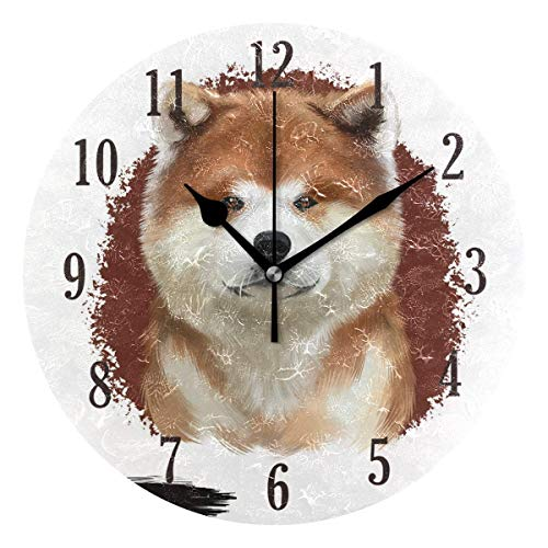 Reloj de Pared Redondo,25cm Decorativo de la Pared Relojes ,Silenciosos de Cuarzo Que Funcionan con Pilas Reloj Colgante (Patrón de Perro)