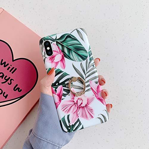 JAWSEU Bloemen telefoonhoesje compatibel met iPhone XS met ringstandaard, TPU siliconen zachte beschermhoes cover schattige bloemen bloemenpatroon schokbestendig bumper case voor iPhone X/XS-4