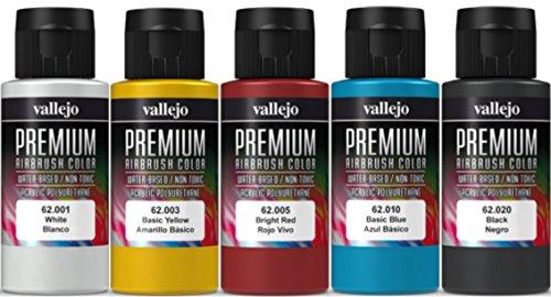 Airbrush Farben 5 x 60 ml Vallejo Premium Basis Farben-Set Grundfarben Airbrushfarben