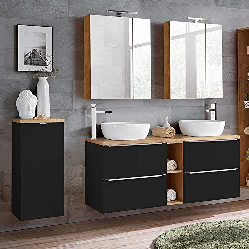 Lomadox Badmöbel Set 140 cm Doppel-Waschtisch inkl. 2 Keramik-Aufsatzbecken, Wäscheschrank, 2 LED-Spiegelschränke, seidenmatt anthrazit, Wotaneiche