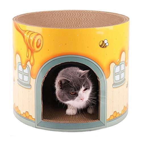 HYY Rascador para Gatos, Corrugado Redonda Grande casa en Forma de Caja...