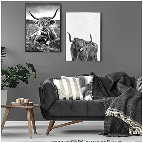 MULMF Minimalistisch gebruikte dieren canvas schilderij Highland Cow muurkunst poster en sneeuwdruk afbeeldingen voor meisjes kamerdecoratie - 40X60Cmx2 zonder lijst