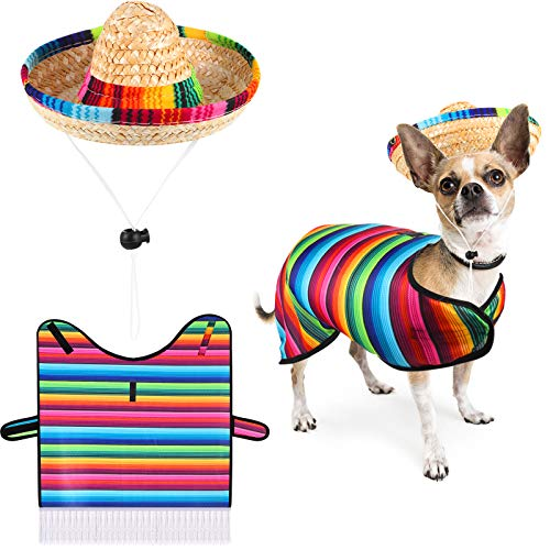 Frienda Dog Poncho Sombrero Hat Pet Serape Costume Funny Dog Costume Multicolor Adjustable Sombrero Costume Mexican Dog Poncho Straw Hat Bulldog Clothes for Mexican Party Decorations (Small)