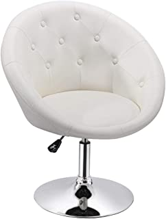 Yaheetech Adjustable Modern Round Tufted Back Chair Tilt Swivel Chair Vanity Chair Barstool Lounge Pub Bar  sc 1 st  Amazon.com & Amazon.com: White - Chairs / Living Room Furniture: Home u0026 Kitchen