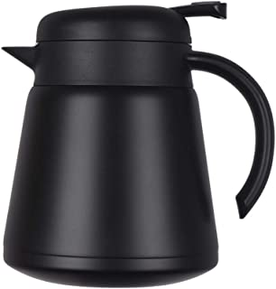 Stainless Steel Vacuum Jug Thermal Coffee Carafe Insulated Double Walled Thermos 23 Oz for Coffee Hot Water Pot Hot Beverage Dispenser (Black)
