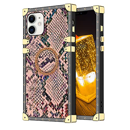 RISEUP Compatible with iPhone 12/12 Pro Square Snakeskin Case for Women Luxury Cute Cool Snake Pattern Textured with Bling Diamond Ring Kickstand Soft Bumper Protective Cover Shell 6.1 inch Pink