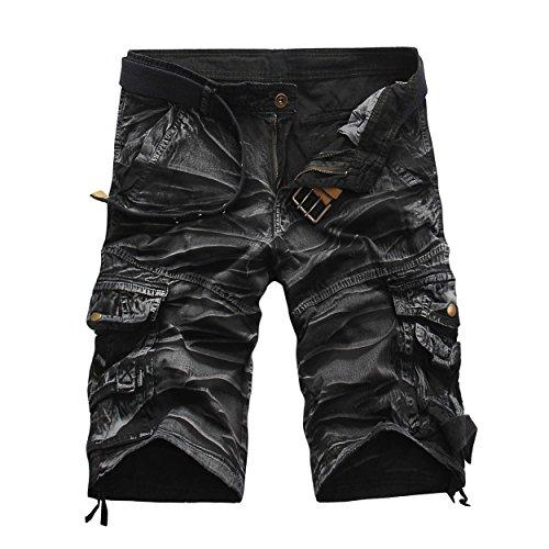 LANMWORN Hombres Pantalones Cortos De Camuflaje Militares Ocasionales Multi-Bolsillos pantalón, AlgodóN De Verano Sueltos Deporte Exterior Camo Leopardo Pant. (Sin CinturóN)
