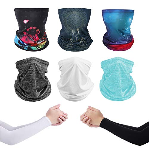 FINEST+ Neck Gaiters for Men and Women Cooling Summer UV Protection, Breathable and Smooth Face Mask, Headband Bandanas, Headwear Balaclava for Outside Activities Hiking Cycling Fishing 8Pcs Black