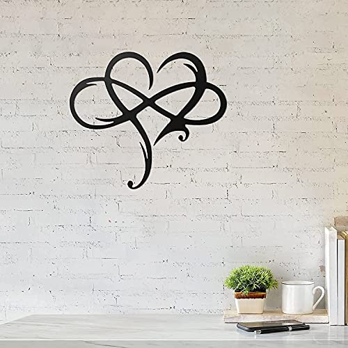 Metal Infinity Heart Sign, Infinity Heart Wall Decoration, Hanging Decorative Sculpture, Metal Wall Art Love Wall Sign for Home Wedding Decor Steel Wall Decoration for Living Room