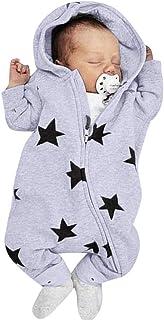 Beikoard_Babykleidung Neugeborenes Baby Mädchen Jungen Sterne Print Mit Kapuze Reißverschluss Strampler Jumpsuit Outfits Baby Kleidung Set