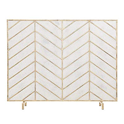 Barton Freestanding Fireplace Screen w/Sturdy Wrought Iron Frame Gold-Tone Fire Spark Guard Gate w/Metal Decorative Mesh for Outdoor or Indoor Use from Barton