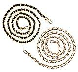 itmops Doppelpack Handykette   Ersatzkette   schwarz Gold   weiß Gold   Metall Leder Kette Chain Strap Necklace Trageriemen Schulteriemen zum Wechseln & Umhängen