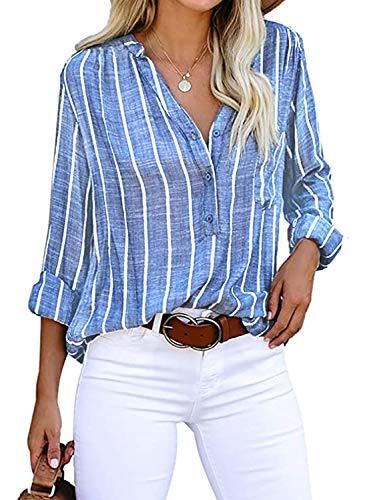 Cindeyar Blusa de manga larga para mujer, diseño de rayas, parte superior informal, manga larga, de algodón, túnica azul marino M