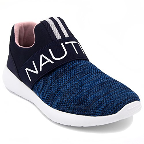 Nautica Women Fashion Slip-On Sneaker Jogger Comfort Running Shoes-CANVEY-Navy-7.5