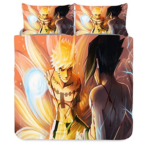 Jiaxiin Naruto - Uzumaki Naruto VS Uchiha Sasuke Juego de Funda nórdica para Ropa de Cama 3 Piezas Funda de edredón Funda de Almohada de algodón (EU-King)