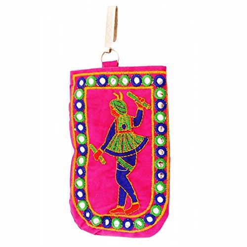 Purpledip Designer mobiele telefoon Pouch Cover met portemonnee zak & Sari haak voor vrouwen: rijk borduurwerk in traditionele Indiase stijl (11013)