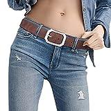 Female Leather Womans Designer Formal Belt Reversible Dark Brown...