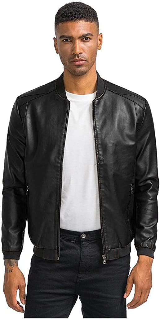 FUNEY Leather Jacket Men Slim Fit Stand Collar Lightweight Distressed Motorcycle Casual Faux Leather Jacket Outwear