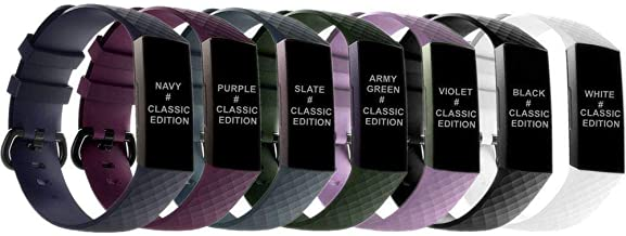 Dunfire Replacement Wristbands for Fitbit Charge 3 /Charge 3 SE, Large and Small Size Sports Accessories Bands for Women and Men, Classic and Air Holes Style
