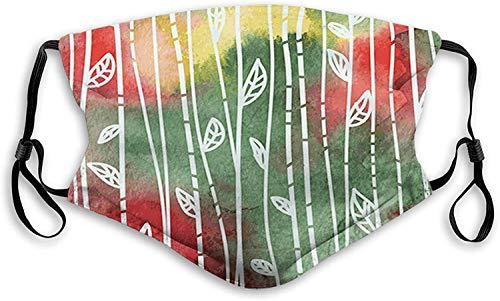 Keyboard cover Gesichtsschutz Mundschutz Doodle Style Blätter an Stielen Grunge Motley Hintergrund Dirty Look Exotic Nasenschutz Wiederverwendbar Waschbar Gesichts Schals Mit 6 Filtern