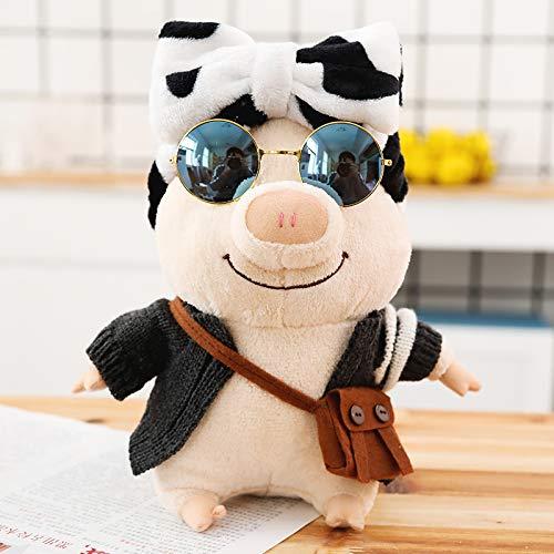 hokkk Reise Schwein Figur verkleiden Sich Schwein Plüschtier kleine kreative Puppe süße Schwein Puppe Dekoration Dekoration Geburtstagsgeschenk ca. 25 cm dunkelgraue Strickjacke