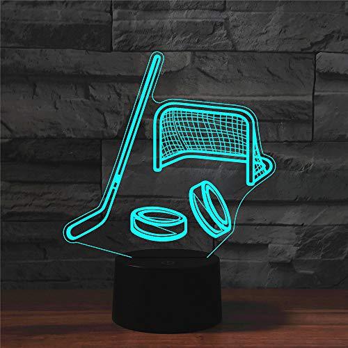 Led Nachtlicht 3D Hockeyausrüstung Illusion Lampe Stimmungslicht 7 Farbwechsel Berührungsschalter Schreibtisch Tischlampe Schlafzimmer Dekoration Kinder Geburtstag Weihnachtsgeschenke