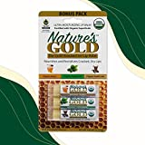 Nature's Gold USDA Certified Organic Super-Healing Lip Balm 3 Pack. Amazing Honey, Peppermint and Vanilla Latte Flavors with Shea Butter. Fast Relief for Cracked, Dry and Chapped Lips!