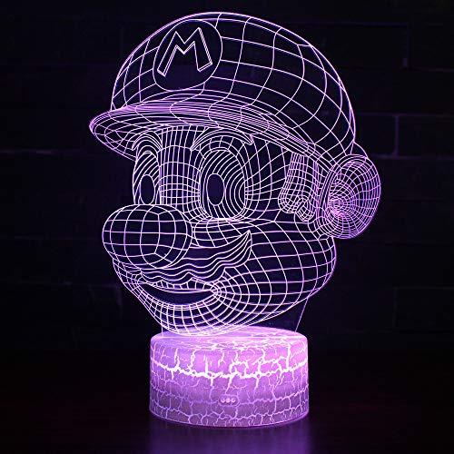 3D Lámpara óptico Illusions Luz Nocturna, CKW 7 Colores Cambio de Botón Táctil y Cable USB para Cumpleaños, Navidad Regalos de Mujer Bebes Hombre Niños Amigas (Mario 1)