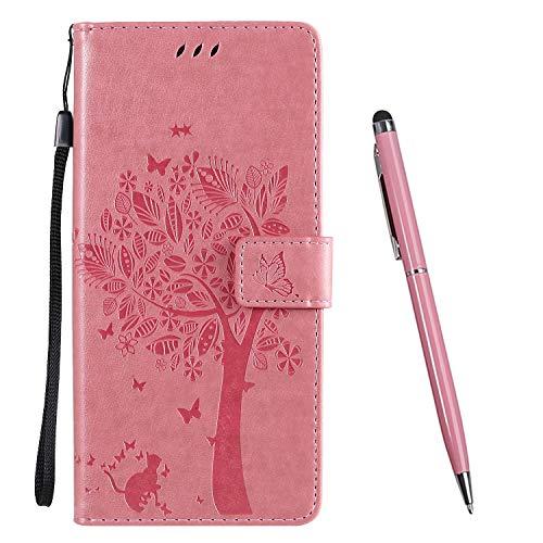 TOUCASA für Samsung Galaxy A31 Hülle,Handyhülle für Galaxy A31,Brieftasche PU Leder Flip [Prägung] Embossing Case Magnetverschluss Handytasche Klapphülle (Rosa)