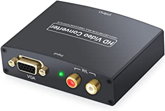 eSynic VGA to HDMI Converter Box 1080p HD Video Converter Adapter with RCA L/R Audio Input for HDTV Projector Monitor PS3 Laptop Desktop